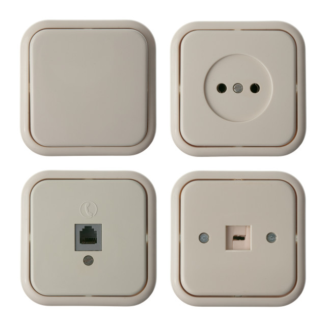 """""""Four wall mounted electrical plates"""" stock image"""