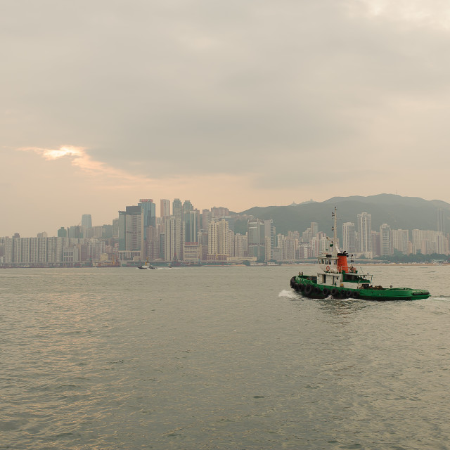 """Hong Kong skyline with boat"" stock image"