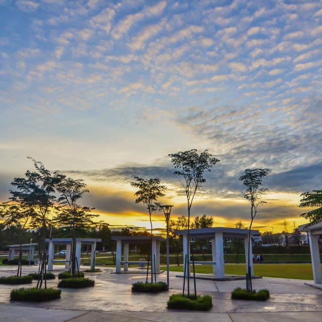 """park sunrise"" stock image"