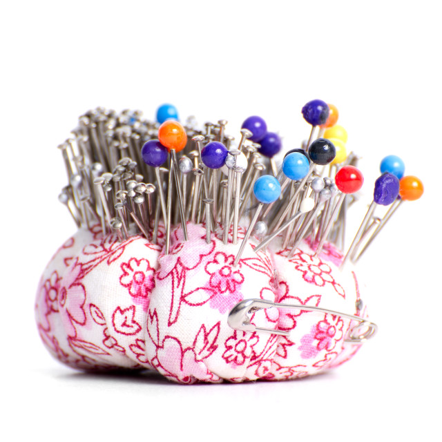 """""""Colored pinheads in pin-cushion"""" stock image"""
