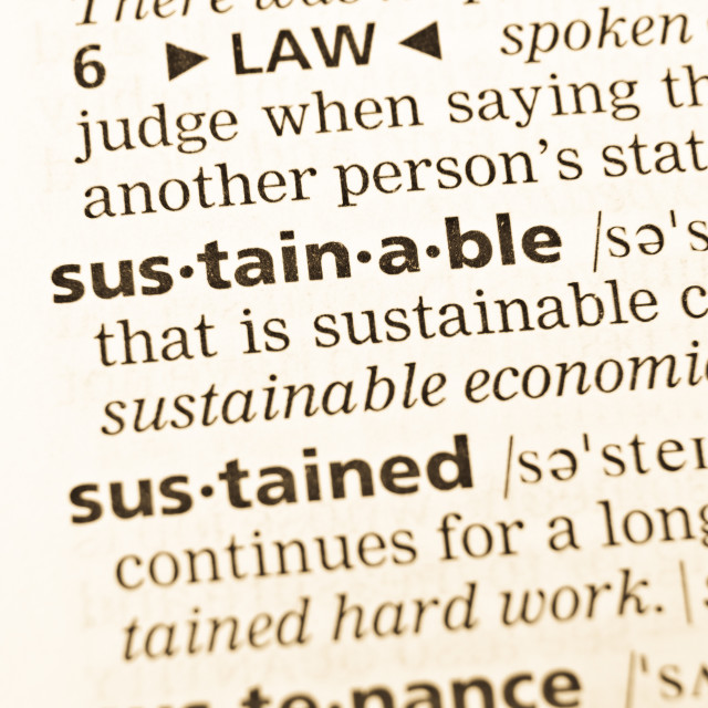 """""""The word sustainable in the old dictionary"""" stock image"""