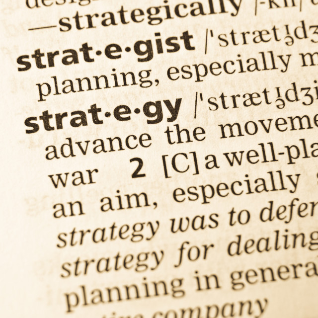 """The word strategy in the old dictionary"" stock image"