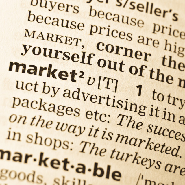 """""""The word market in the old dictionary"""" stock image"""