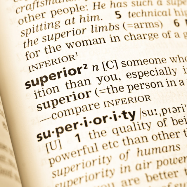 """""""The word superior in the old dictionary"""" stock image"""