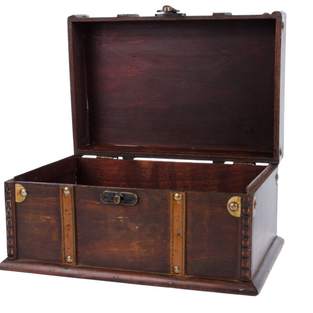 """Open antique wooden trunk"" stock image"