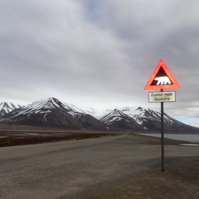 """Verkeersbord, Longyearbyen, Spitsbergen; Traffic sign, Longyearbyen, Svalbard"" stock image"