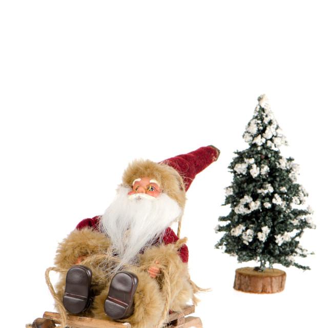 """Miniature of Santa Claus on sleigh"" stock image"