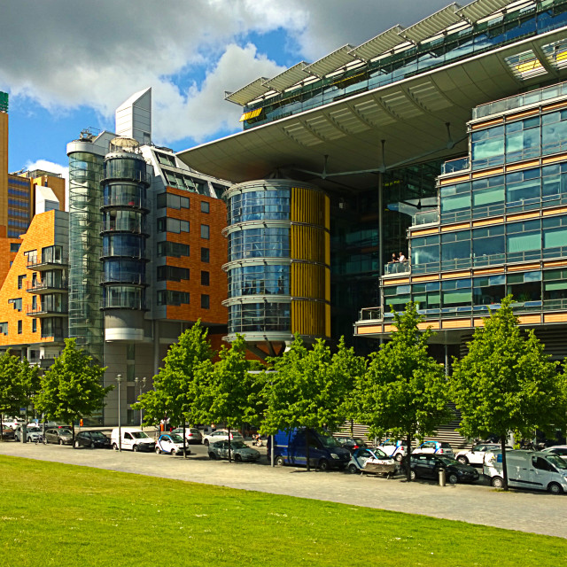 """Berlin Germany futuristic architecture at Linkstrasse"" stock image"
