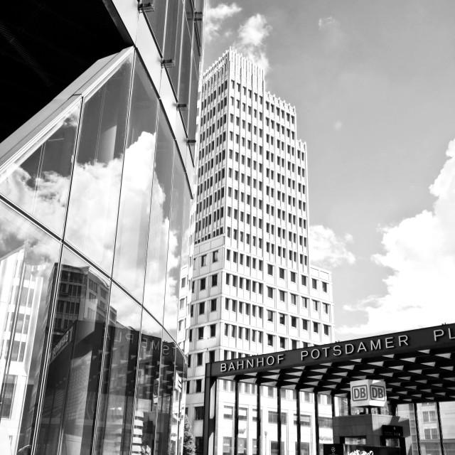 """""""Berlin, Potsdamer Platz, cloudscape reflection on glass surface"""" stock image"""