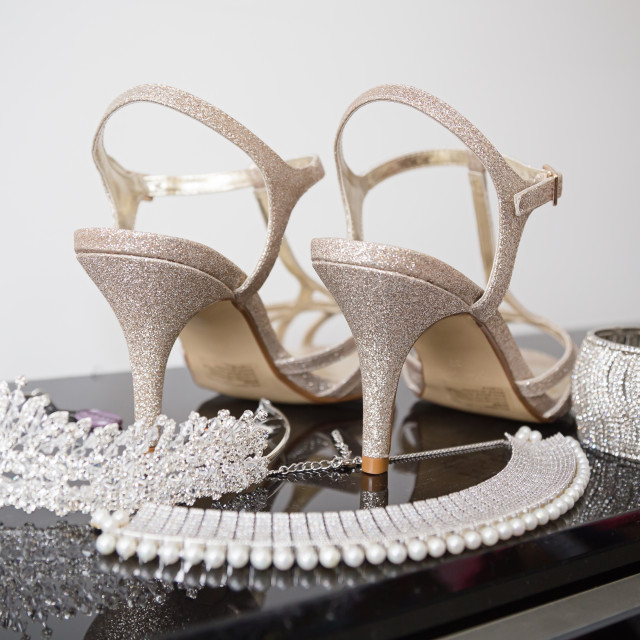 """""""Silver wedding shoes"""" stock image"""