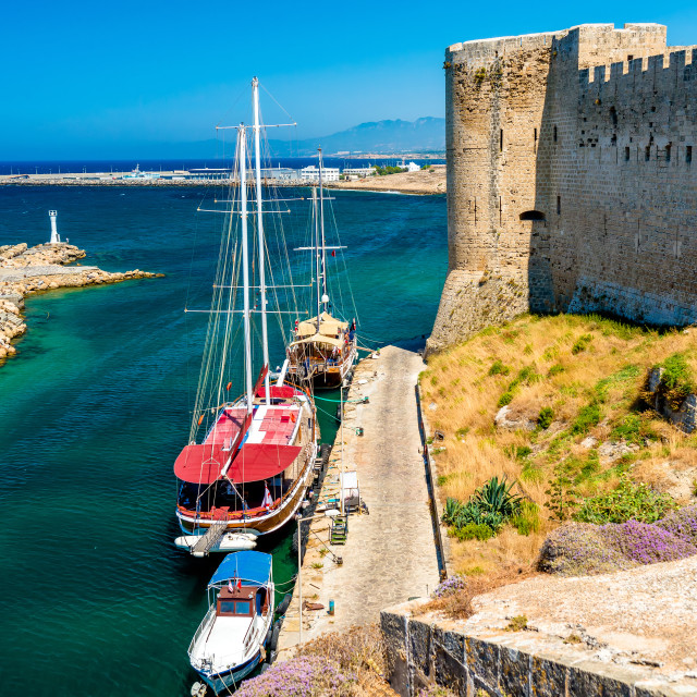 """Harbor view from Kyrenia castle walls. Cyprus"" stock image"