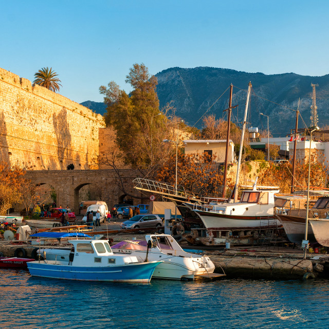"""Medieval castle and harbor view in Kyrenia"" stock image"