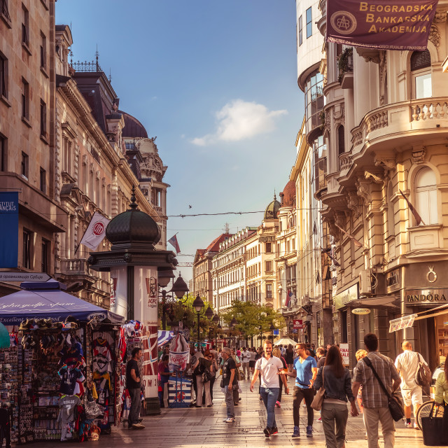 """Knez Mihailova Street on September 23, 2015 in Belgrade, Serbia. Street is the main shopping mile of Belgrade"" stock image"