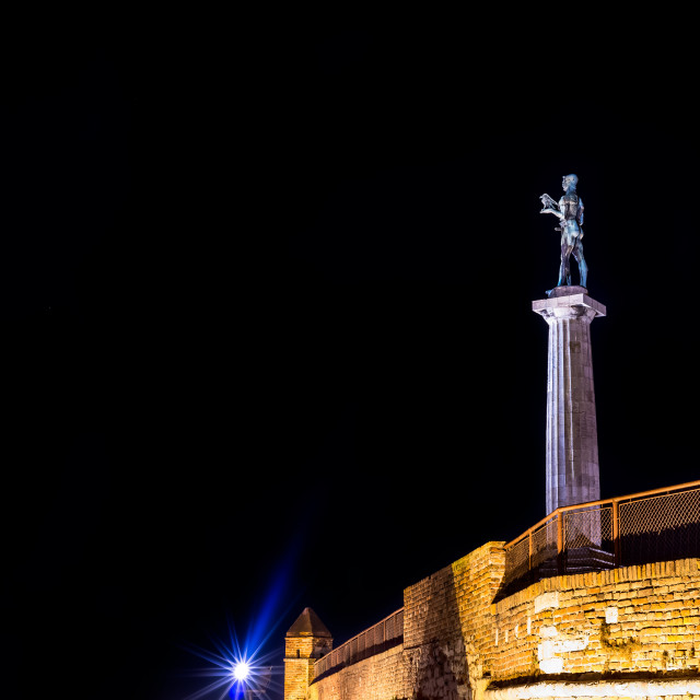 """The Victor Monument on Kalemegdan Fortress at night. Belgrade, S"" stock image"