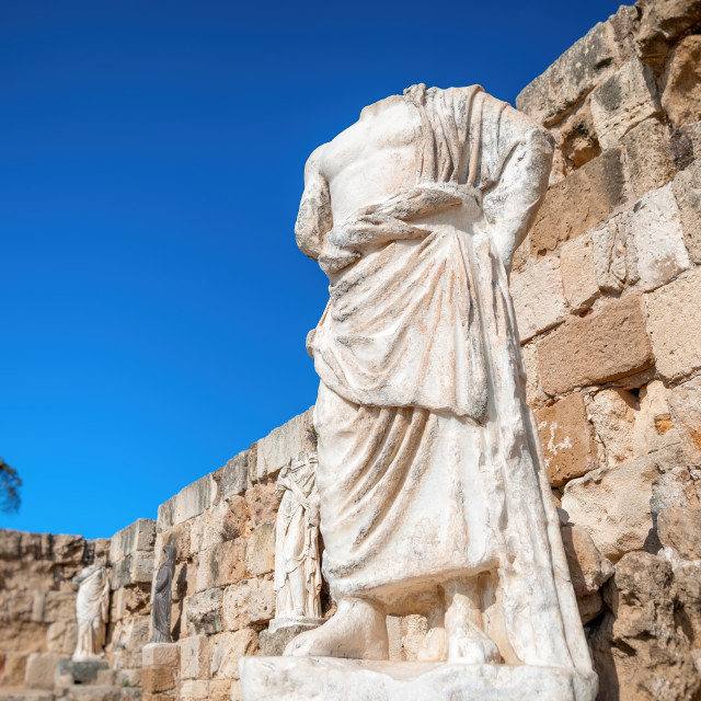 """Roman statue at the Ruins of Salamis. Famagusta District, Cyprus"" stock image"
