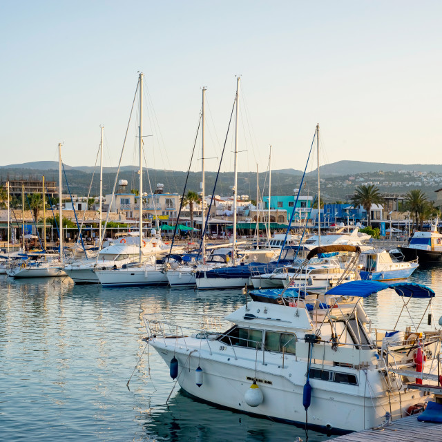 """Yachts in harbor on May 19, 2015 in Latchi village, Cyprus."" stock image"