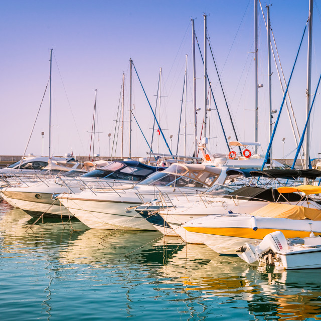 """Yachts in the harbour of Latchi village. Paphos district, Cyprus"" stock image"