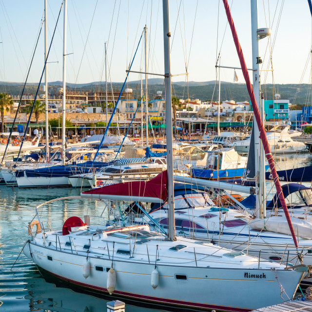 """Yachts in the harbour on May 19, 2015 in Latchi village, Cyprus."" stock image"