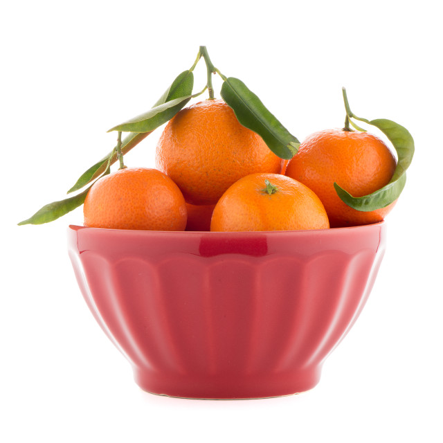 """Tangerines on ceramic red bowl"" stock image"
