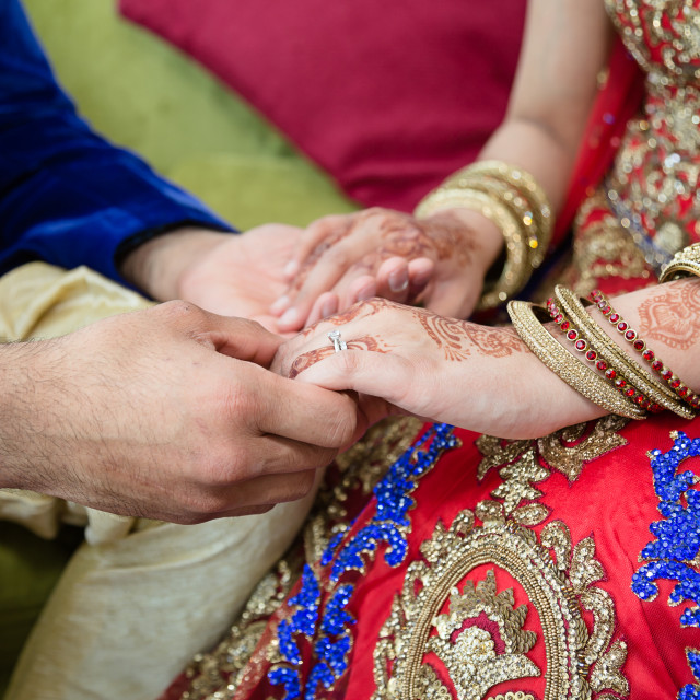 """""""Groom holding hands with bride"""" stock image"""
