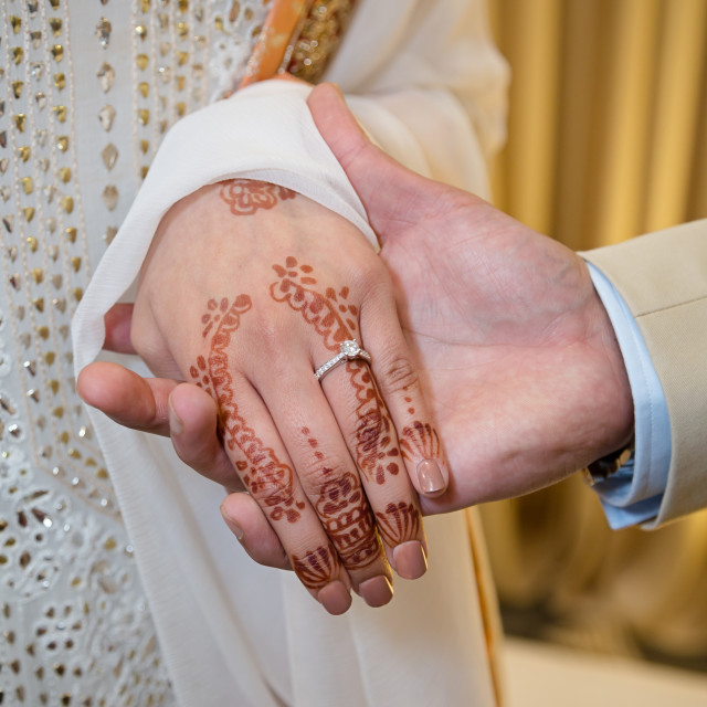 """""""Groom showing ring"""" stock image"""