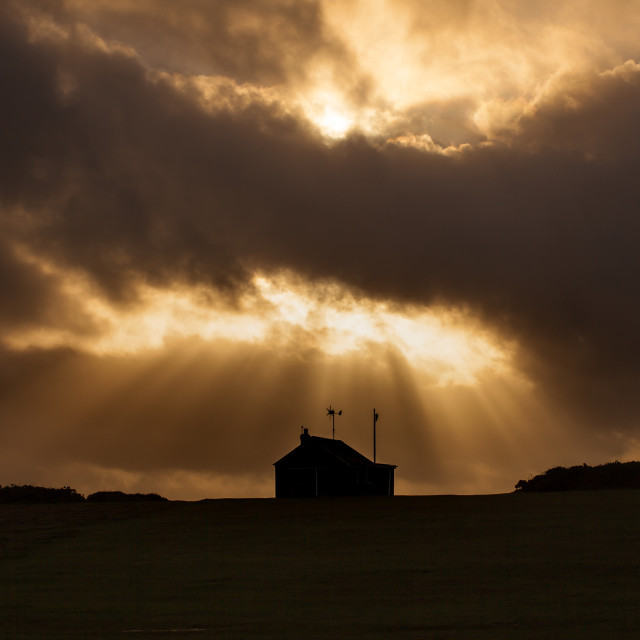 """Sunburst at Rhossili"" stock image"