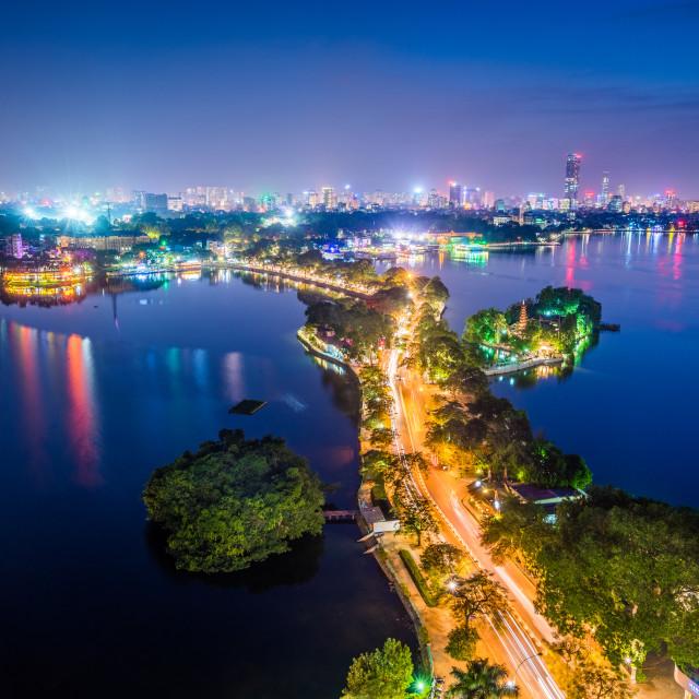 """Panorama of West Lake in Hanoi - Vietnam in sunset"" stock image"