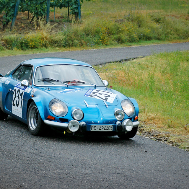 """Blue vintage Alpine Renault racing car"" stock image"