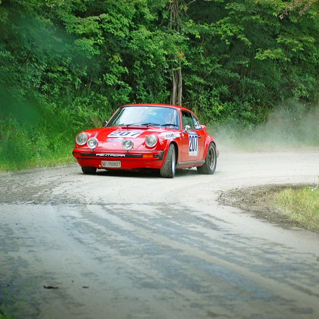 """Red vintage Porsche 911 S racing car"" stock image"