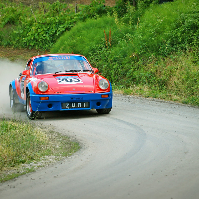 """Red and blue vintage Porsche 911 S racing car"" stock image"
