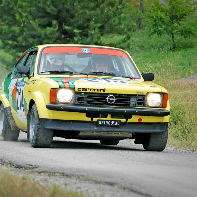 """Yellow vintage Opel Kadett C Coupe racing car"" stock image"