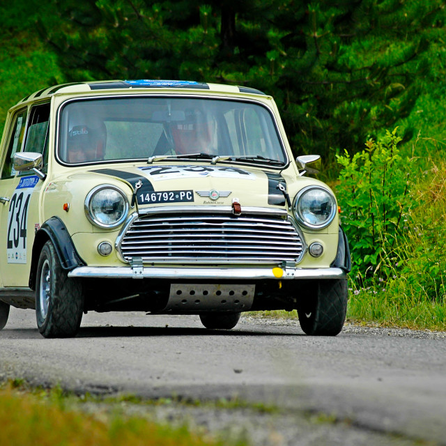 """Yellow vintage Mini Cooper racing car"" stock image"