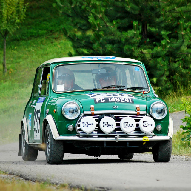 """Green vintage Mini Innocenti racing car"" stock image"