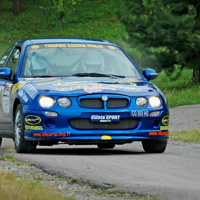 """Blue vintage MG ZR racing car"" stock image"