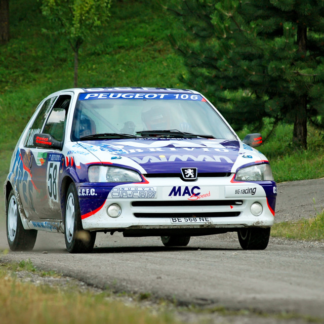 """White and blue vintage Peugeot 106 racing car"" stock image"