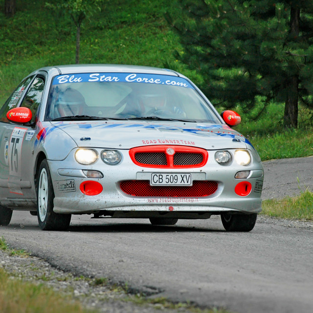 """Gray vintage MG ZR racing car"" stock image"