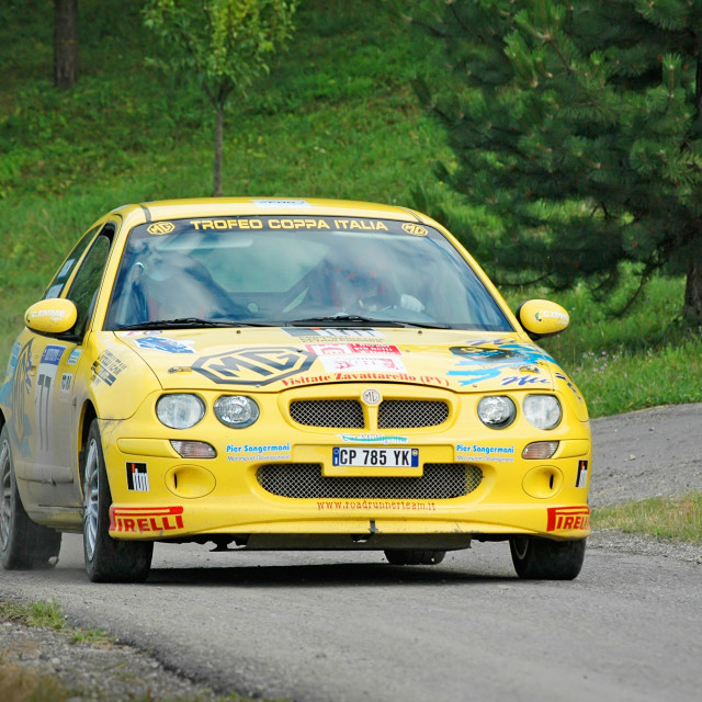 """Yellow vintage MG ZR racing car"" stock image"