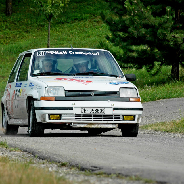 """White vintage Renault 5 racing car"" stock image"