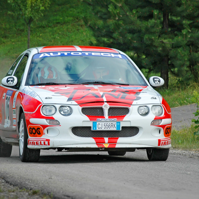 """White and red vintage MG ZR racing car"" stock image"