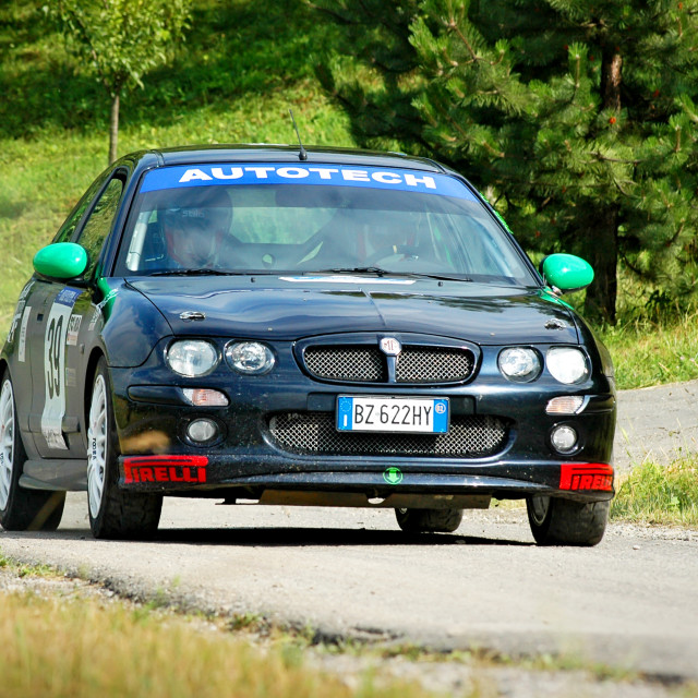 """Black vintage MG ZR racing car"" stock image"