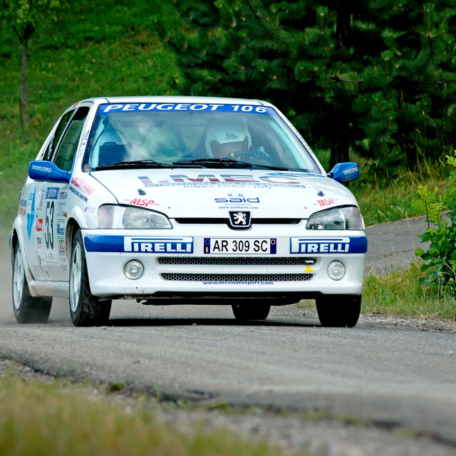 """White vintage Peugeot 106 racing car"" stock image"