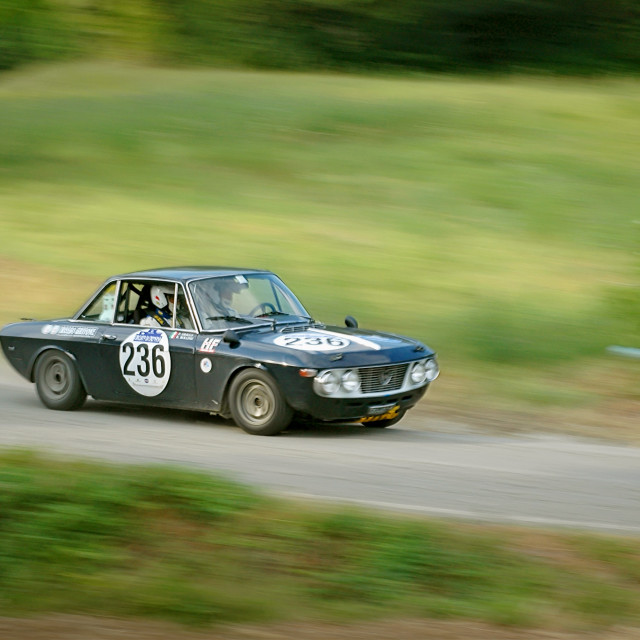 """Black vintage Lancia Fulvia racing car"" stock image"