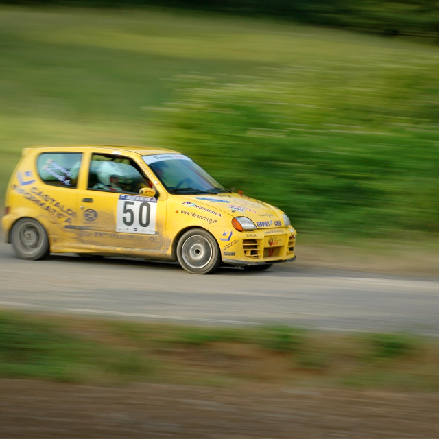 """Yellow vintage Fiat 600 racing car"" stock image"