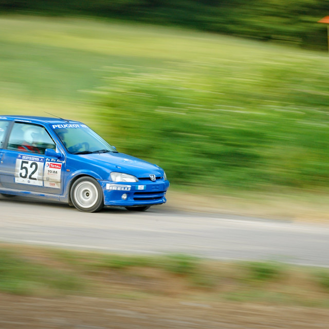 """Blue vintage Peugeot 106 racing car"" stock image"