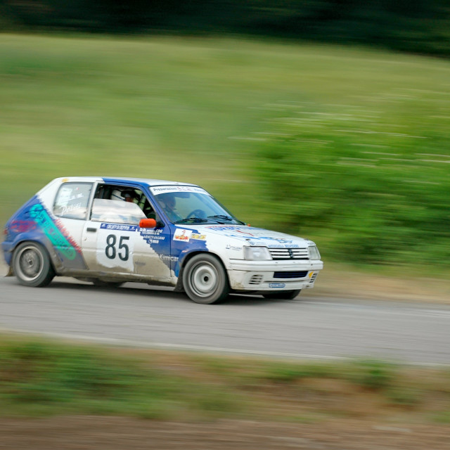 """White and blue vintage Peugeot 105 racing car"" stock image"