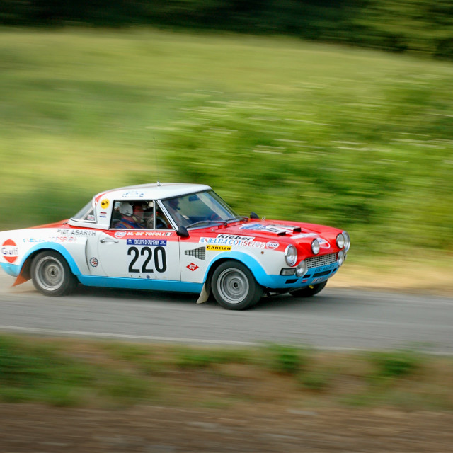 """White, blue and red vintage Fiat Abarth racing car"" stock image"