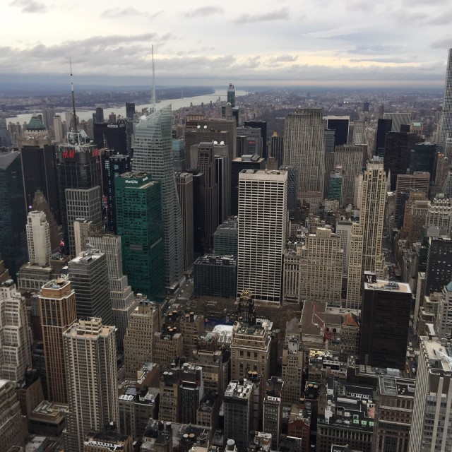 """""""View from Empire State Building to downtown"""" stock image"""