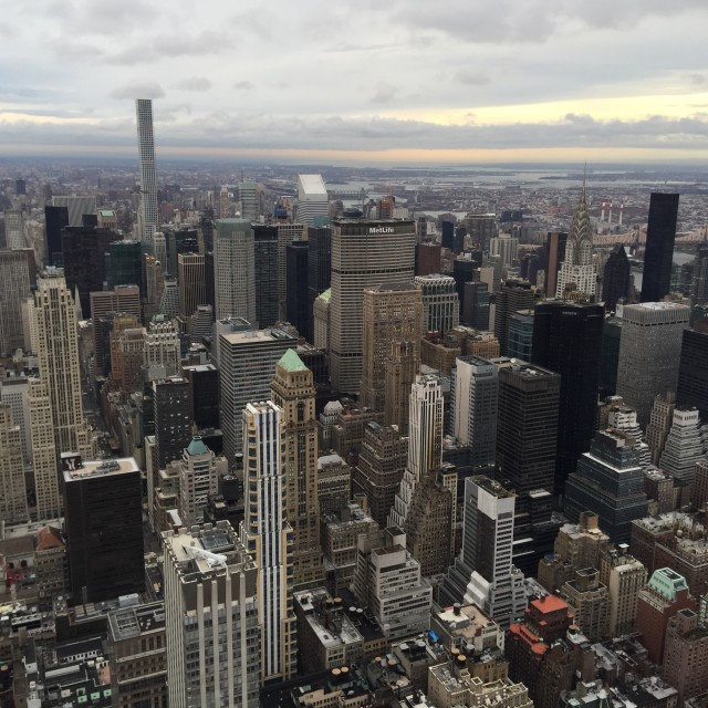 """""""A view from Empire State Building to downtown"""" stock image"""