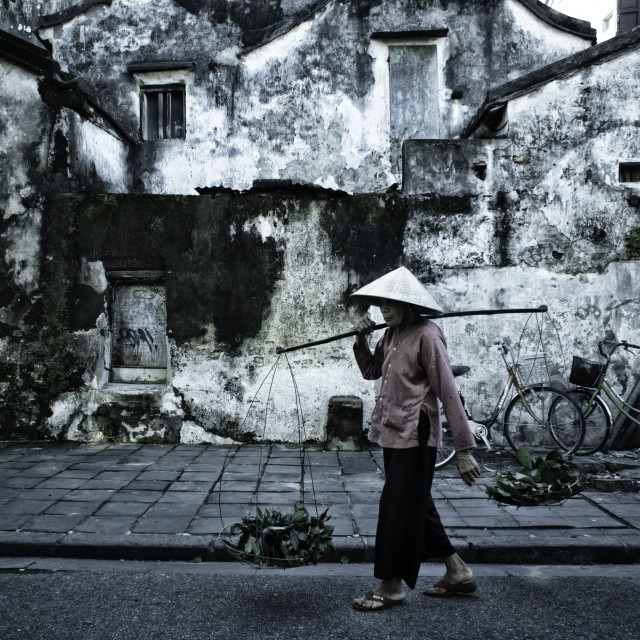 """A woman in the old quarter"" stock image"