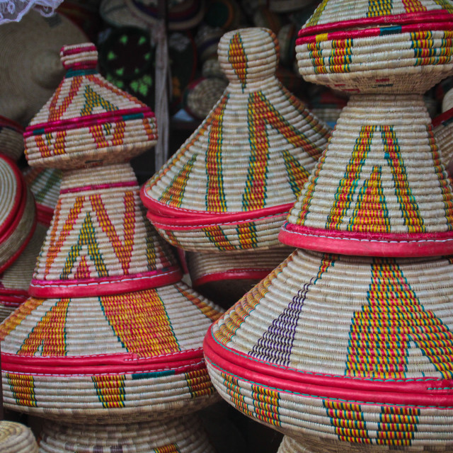 """Injera baskets in Ethiopia"" stock image"